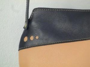 Sac Indispensable cuir beige / bleu
