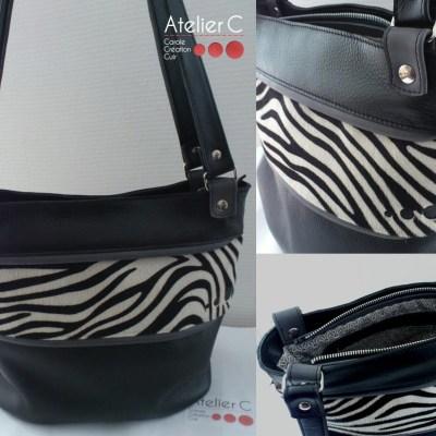Sac cabas cuir Atelier C noir / veau zebre