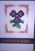 Pansies birthday card - DMC Floral Quick Kit