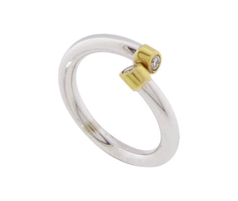 Bicolor ring met 2 briljanten kopen Ring  Juwelier Christian