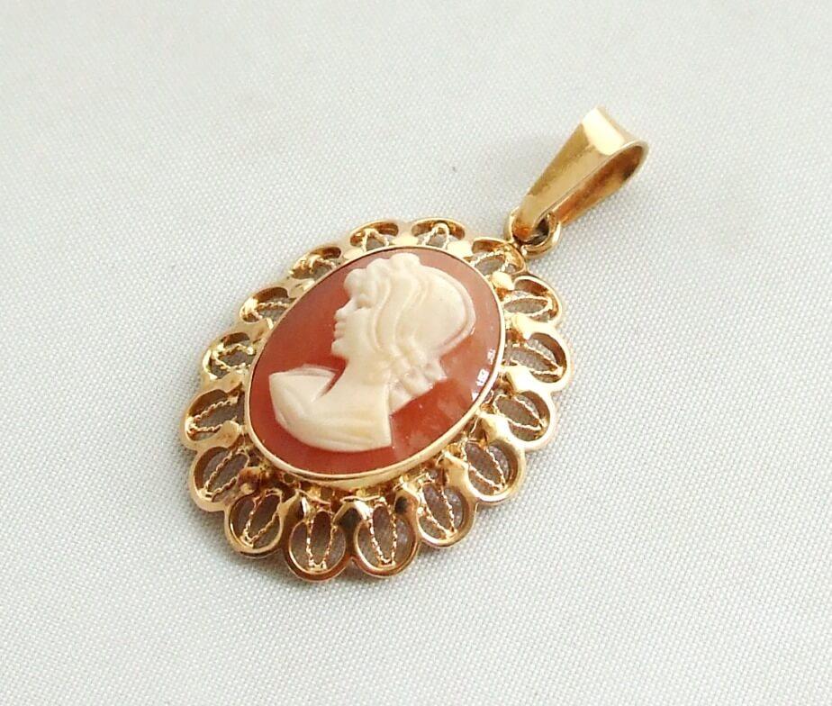 Geel gouden camee hanger kopen Camee hanger  Juwelier