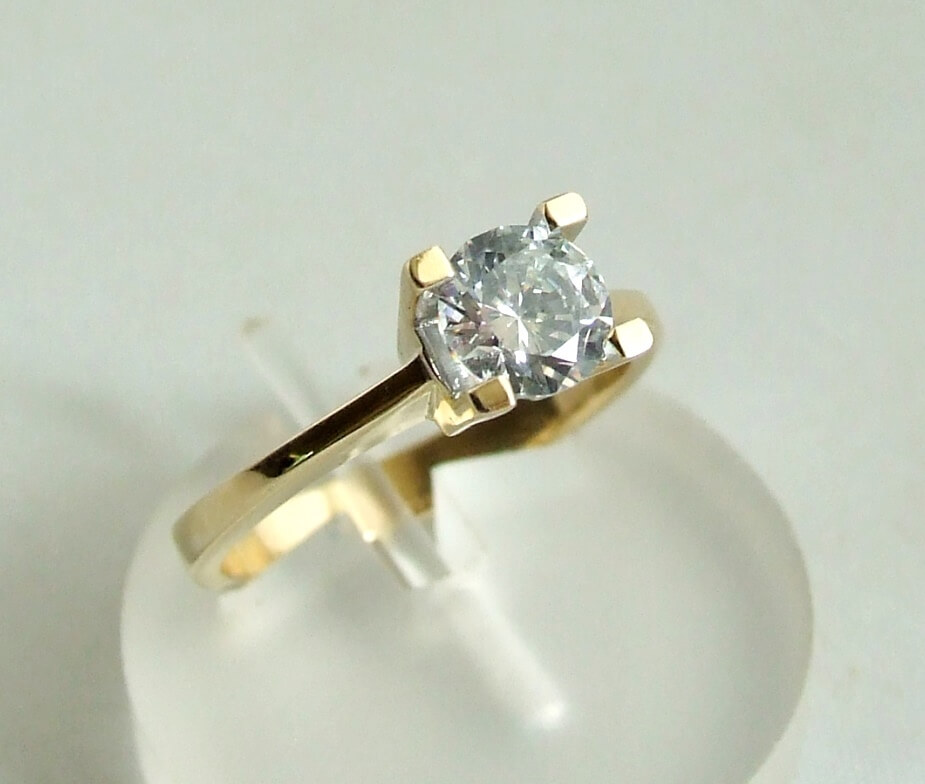 Gouden ring met centrale zirkonia steen kopen Juwelier