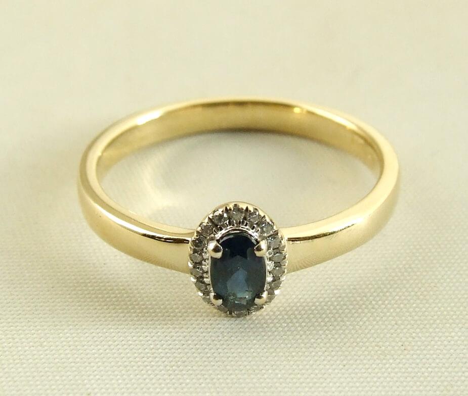 14 karaat gouden ring met saffier en diamanten kopen Ring