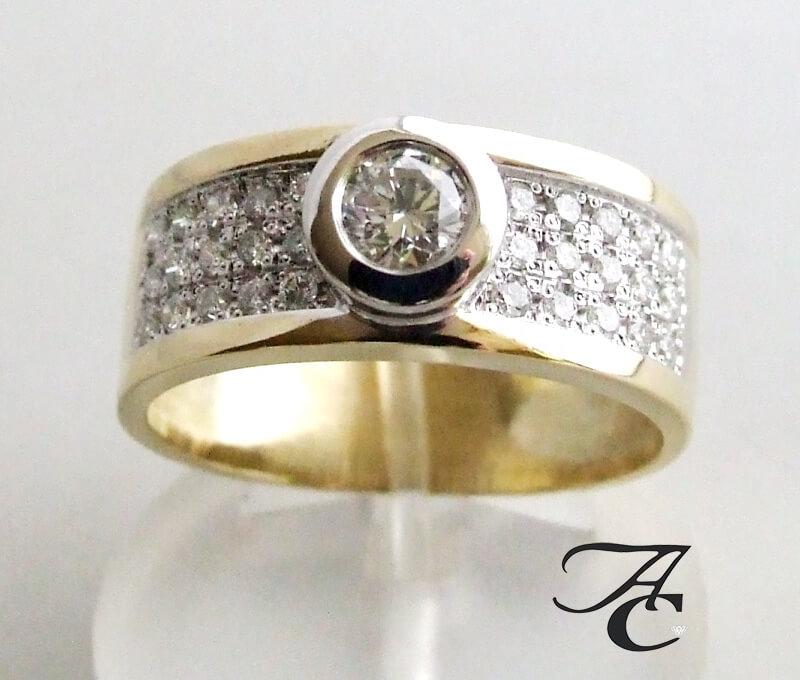 Bicolor ring met briljant geslepen diamanten kopen Bicolor gouden ring