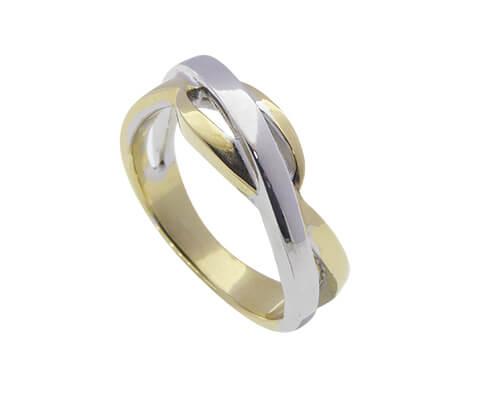 Gevlochten gouden bicolor ring  Ring kopen De mooiste
