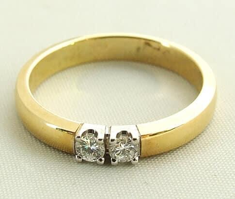 Bicolor ring met 2 diamanten kopen Bicolor ring met 2 diamanten