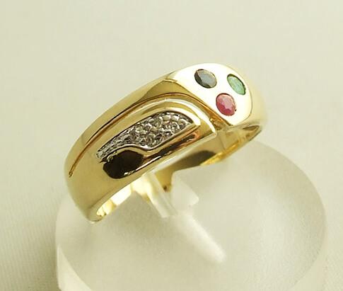 Gouden ring met saffier diamant robijn smaragd kopen