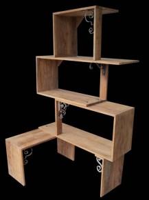 """Estante """"Elo"""" - Peroba Rosa + Ferro fundido (Modular)    Design Atelier DS por Daniela Saraiva e Sergio Fabris"""