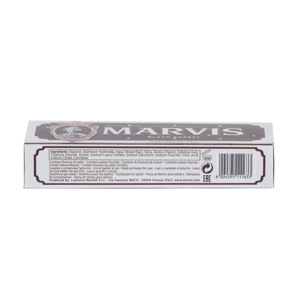 Ingredients of box Black Forest Toothpaste 75ml