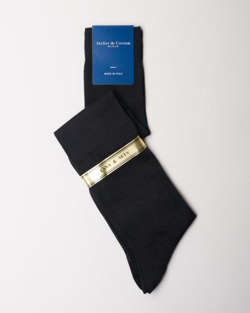 Black Hand-linked Merino and Silk Socks