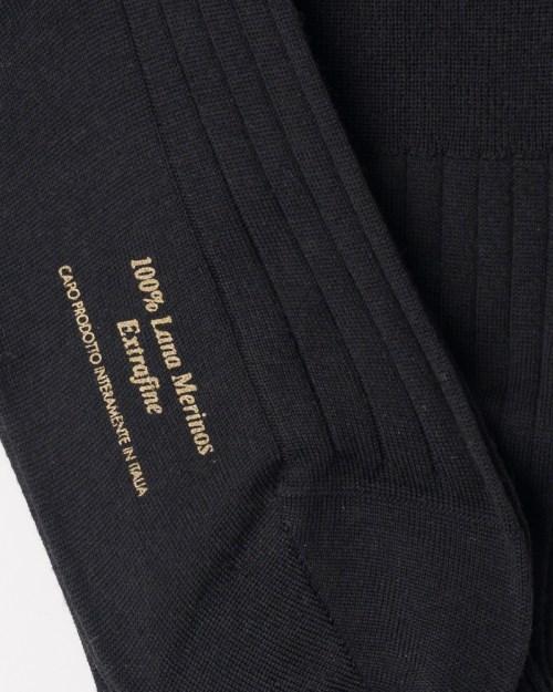 Black Hand-linked 100% Merino Wool Socks close-up