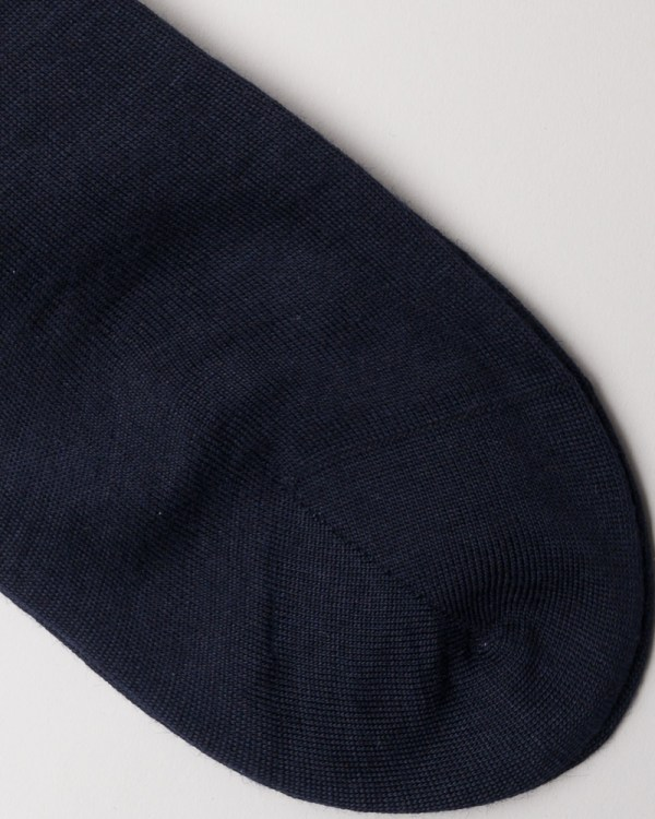 Navy Hand-linked Merino and Silk Socks close-up