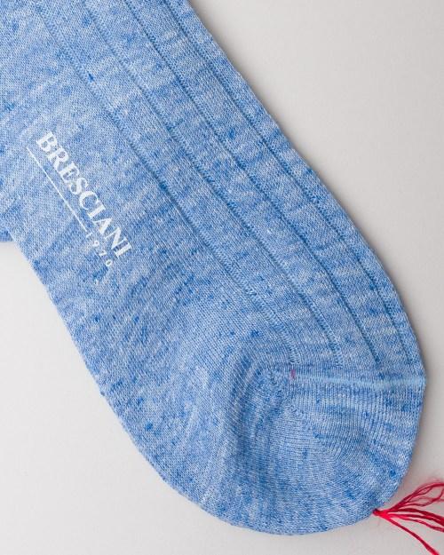 Bresciani Cielo Linen Socks close-up