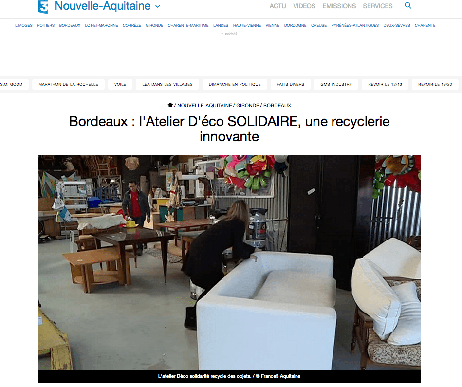 france 3 aquitaine du 20 11 2017 atelier d co solidaire. Black Bedroom Furniture Sets. Home Design Ideas