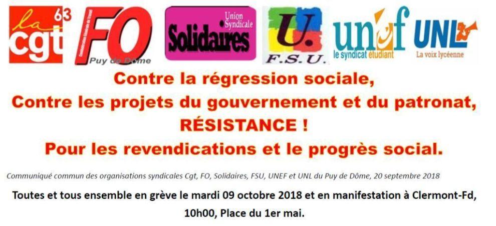c3e9e3e569b Tous et toutes en grève et en manifestation Mardi 9 octobre 2018 10H ...