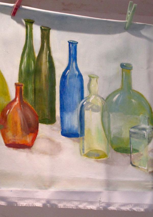 Cours de peinture : bouteilles
