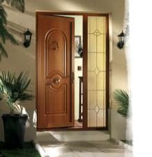 Porte d'entrée en PVC ton chêne doré