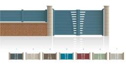 Modèle Bel Air Portail 1/4 ajouré côté serrure 3/4 plein, traverse verticale de forme symétrique • Barreaudage horizontal ou vertical • Remplissage design horizontal ou vertical