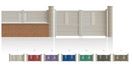 Modèle VaneauPortail haut 1/4 ajouré au centre bas 1/3 plein traverse verticale de forme symétrique traverse horizontale droit • Barreaudage horizontal ou vertical • Remplissage design horizontal ou vertical