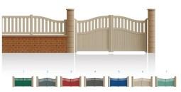 Modèle MarceauPortail 1/4 ajouré 3/4 bas plein traverses centrale et haute de forme identique • Barreaudage horizontal ou vertical • Barreaudage à 45° en option • Remplissage horizontal ou vertical • Remplissage à 45° en option