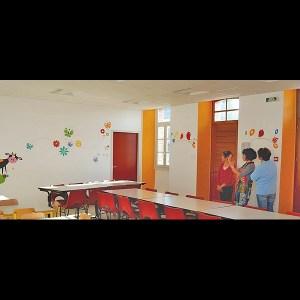 fresque-cantine-ecole-nature-vache-fleur-campagne-peinture-murale-1