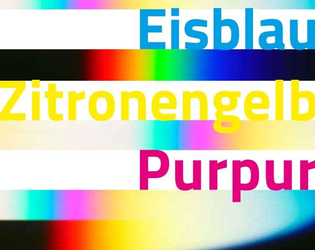 Ausstellung Eisblau-Zitronengelb-Purpur