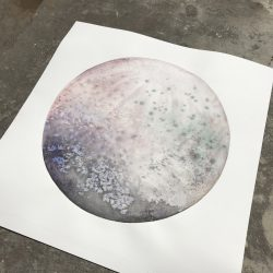Large Watercolor Moon painting - Super Moon