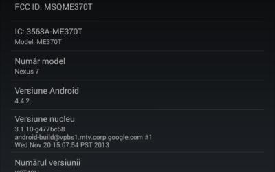 Android KitKat 4.4.2 pentru Google Nexus 7
