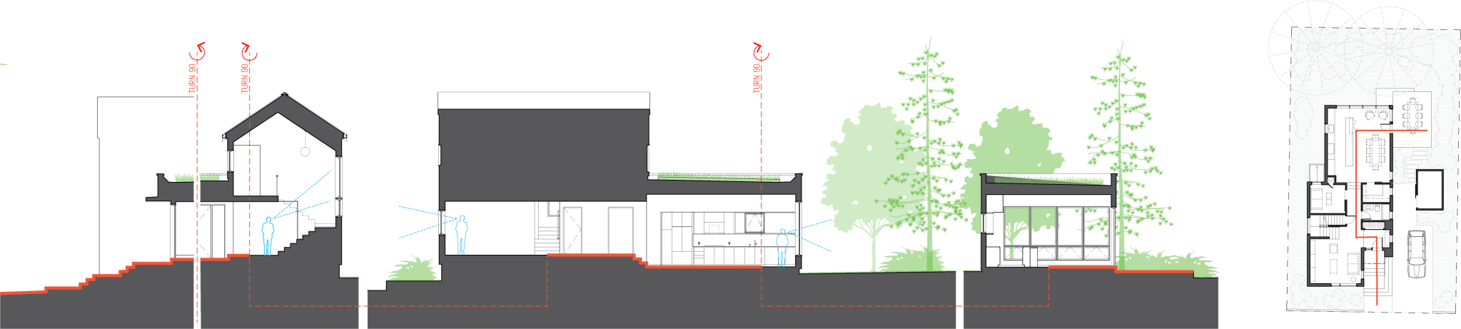 Compact modern house section drawings