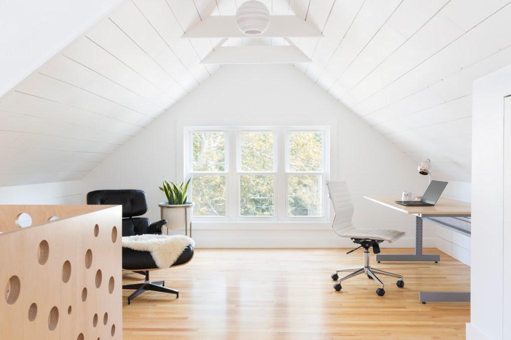 Attic renovation shiplap plywood