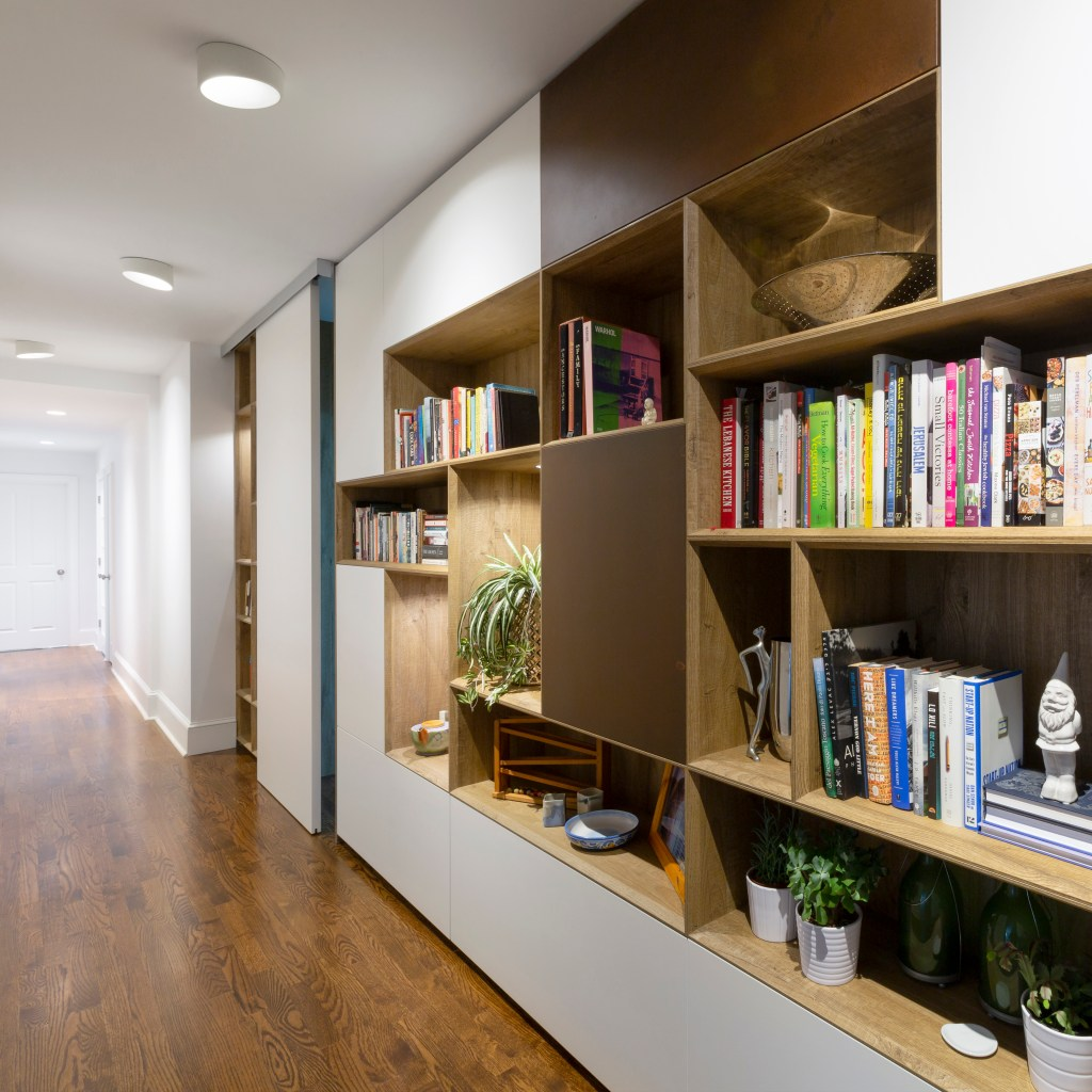 Modern bookcase in historic home