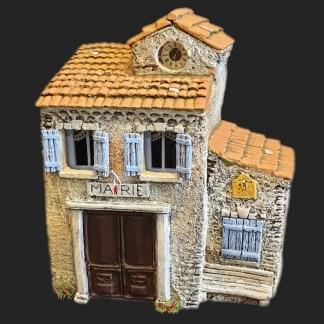 Maison de village mairie fermée bleu – Atelier de Fanny – Santon – Santons – Décors de crèche – Aubagne – Provence – Crèche de Provence – Santon de provence.jpg