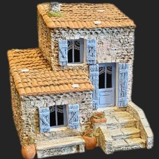 Maison de village 5 bleu – Atelier de Fanny – Santon – Santons – Décors de crèche – Aubagne – Provence – Crèche de Provence – Santon de provence.jpg