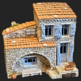 Maison de village 7 bleu – Atelier de Fanny – Santon – Santons – Décors de crèche – Aubagne – Provence – Crèche de Provence – Santon de provence.jpg