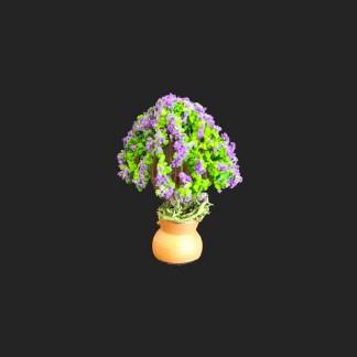 jarre arbre fleuri violet de provence – atelier de Fanny – Aubagne -provence – santon de provence -santon – décors de provence – décors de crèche – crèches de Provence- accessoire de Provence -artisan – made in france – france