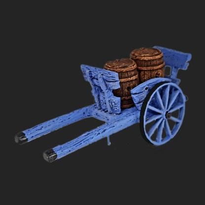 charrette avec tonneaux de Provence pour votre décor de crèche