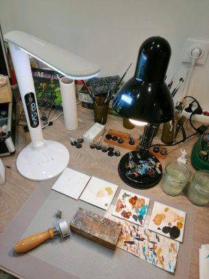 mon espace de travail d'atelier figurine