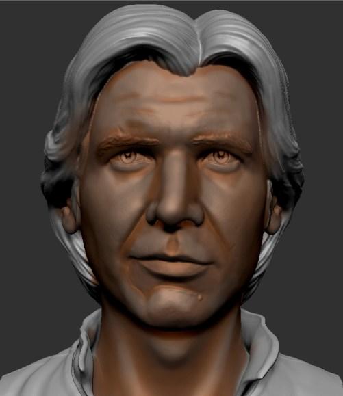 hombres et lumières d'un visage de figurine