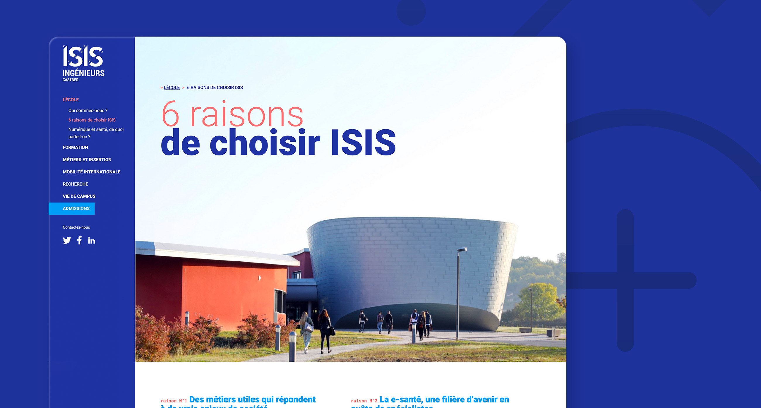 Conception du webdesign du site d'ISIS