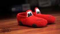 crochet red cars slippers