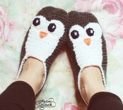 crochet penguin slippers