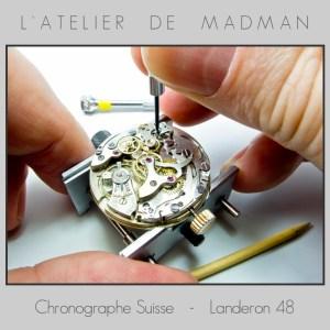 Les réglages du chronographe sont délicats : une fois ça n'engrène pas, une fois la roue d'embrayage appuie trop fort et le mouvement s'arrête. Il faut trouver le juste milieu en ajustant tous les excentriques.