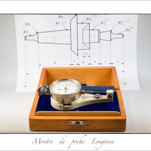 Relèvement des cotes du balancier cassé. Cet ancien appareil de mesue est précis au 1/100e de millimètre !