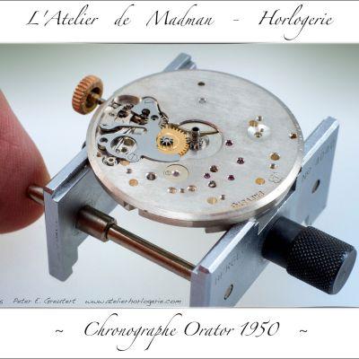Le côté cadran du mouvement, avec le mécanisme de remontage et mise à  l'heure, dérouillé, nettoyé et graissé.