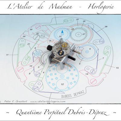 Le mouvement complet sur une illustration du module de quantième perpétuel avec came de 12.