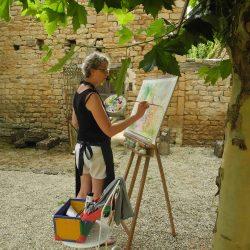 schilderen onder de plataan