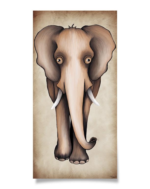 tableau-affiche-décoration-enfant-beige-éléphant