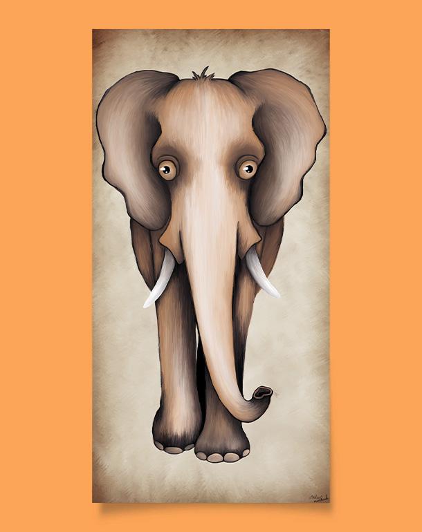 tableau-affiche-décoration-enfant-éléphant-beige