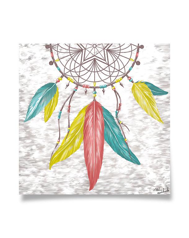 tableau-affiche-décoration-attrape-reve-plumes-perles