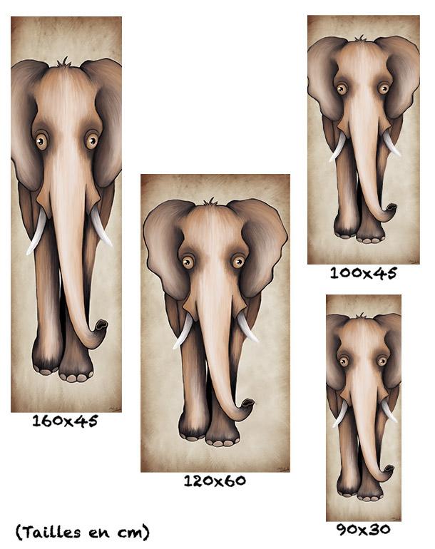 tableau-affiche-papier-aluminium-tailles-décoration-éléphant-beige